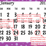 January 2017 Events Calendar